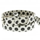 Dog Collars Black - White Polka Dot Glitter Silver Bone Collar & Leash Set