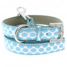 Dog Collars Silver & Blue Polka Dot Collar & Leash Set