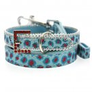 Dog Collars Handcrafted Cool Blue Bling Collar & Leash Set