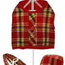 Dog Clothes Red / Yellow Tartan Harness, Leash & Matching Cap