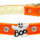 Dog Clothes Adorable Halloween  Velvet Ghost Charm Orange Collar