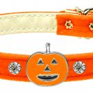 Dog Clothes Adorable Halloween Pumpkin Charm Collar Orange Velvet