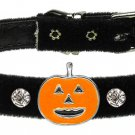 Dog Clothes Adorable Halloween Pumpkin Charm Collar Black  Velvet