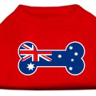 Dog Clothes Adorable Bone Shaped Australian Flag Screen Print Shirt - Red
