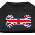 Dog Clothes Adorable Bone Shaped United Kingdom (Union Jack) Flag Screen Print Shirt - Black