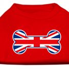 Dog Clothes Adorable Bone Shaped United Kingdom (Union Jack) Flag Screen Print Shirt - Red
