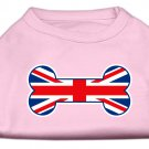Dog Clothes Adorable Bone Shaped United Kingdom (Union Jack) Flag Screen Print Shirt - Pink