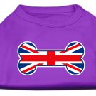 Dog Clothes Adorable Bone Shaped United Kingdom (Union Jack) Flag Screen Print Shirt - Purple