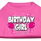 Dog Clothes Adorable Birthday Girl Screen Print Shirt -  Bright Pink