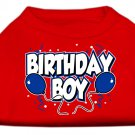 Dog Clothes Adorable Birthday Boy Screen Print Shirt -  Red