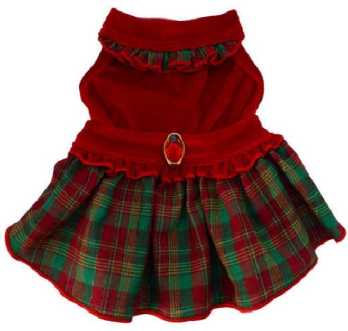 Dog Clothes Adorable Red Velvet Plaid Dress