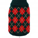 Dog Clothes Adorable Red & Dark Green Argyle Sweater