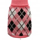 Dog Clothes Adorable Pink & Black Argyle Sweater