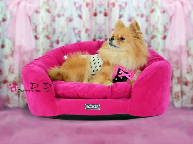Dog Beds NEW!! Hot Pink Velvet Round Couch Bed