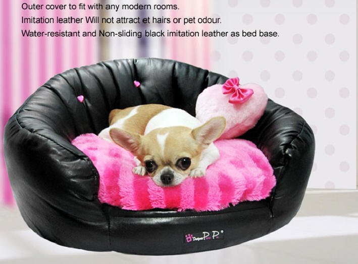 Dog Beds NEW!! Faux Leather Black Round Couch Bed