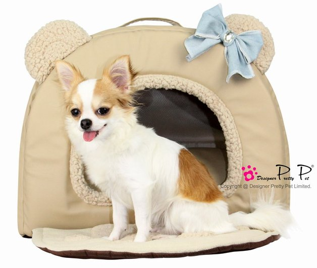 Dog Beds NEW!! Faux Leather Beige Bear House Bed