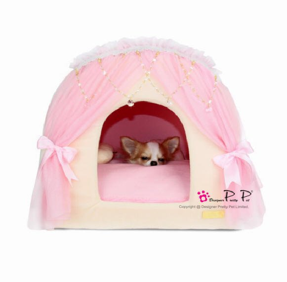 Dog Beds NEW!! Pink & Cream Princess House Bed