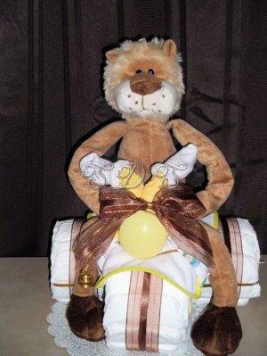 Mini 3-Wheeler diaper cake with lion