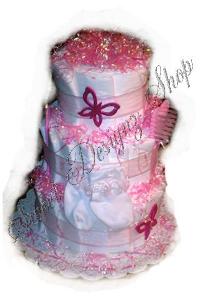 Pink & White Diaper Cake