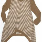 CUPIO Women's size LARGE Asymmetric Hem Tunic Sweater Beige/White Striped Top