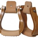 Curved wooden stirrup with leather tread   #221625