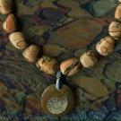Jasper Tumbled Stone Necklace w/ Ammonite Fossil Pendant