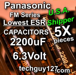 5 Pcs Panasonic FM 2200uF 6.3V Super Low ESR Radial Electrolytic Capacitors