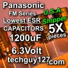 5 Pcs Panasonic FM 1200uF 6.3V  Super Low ESR Radial Electrolytic Capacitors