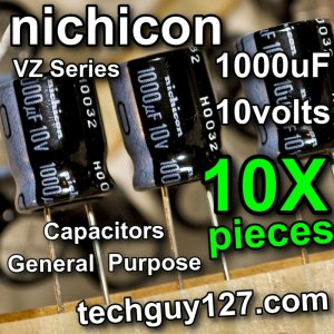 10 Pcs Nichicon VZ 1000uF 10V Radial Electrolytic Capacitors