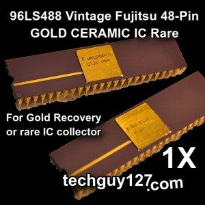 96LS488 Vintage Fujitsu 48-Pin GOLD CERAMIC IC Rare