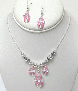 FAITH, HOPE, & LOVE PINK RIBBON SET NKS553