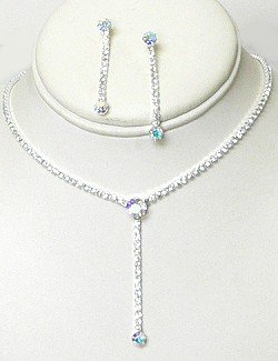 SIMPLE Y RHINESTONE NECKLACE SET NKR668
