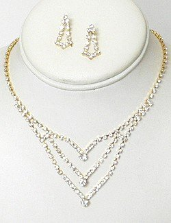 RHINESTONE NECKLACE SET WITH 3 ROWS NKR661