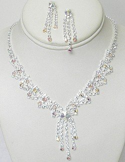CLEAR & IRIDESCENT RHINESTONE SET NKR621