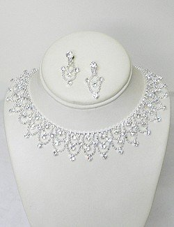 RHINESTONE LACE COLLAR SET NKR620
