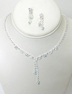CLEAR & COLORED RHINESTONE Y SET NKR604