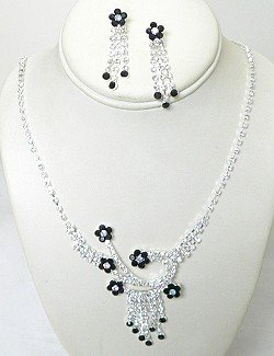 RHINESTONE WILDFLOWER NECKLACE SET NKR600