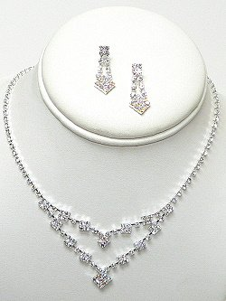 DOUBLE ROW RHINESTONE NECKLACE SET  NKR588