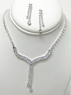 RHINESTONE DOUBLE ROW Y NECKLACE SET NKR585