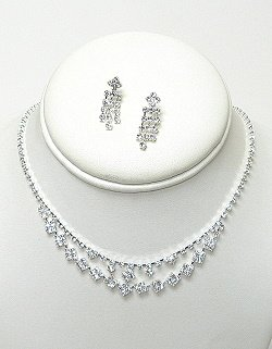 DOUBLE LINE RHINESTONE NECKLACE SET  NKR574