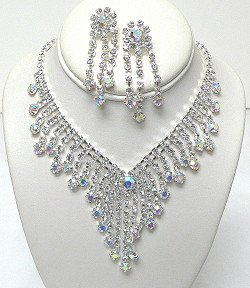 LARGE RHINESTONE NECKLACE SET NKR546