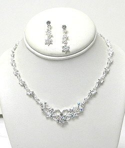 CLEAR & AB RHINESTONES FLOWER SET NKR532