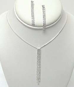 CLEAR RHINESTONE DANGLING SET NKR527