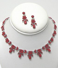 CRIMSON RHINESTONE NECKLACE SET NKR516