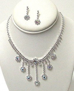DANGLING FLOWER DROP RHINESTONE SET NKR460