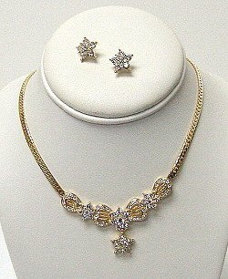 GOLD SET WITH STAR RHINESTONES  NKR444