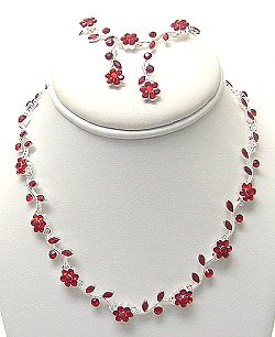 3 PIECE RHINESTONE FLOWER NECKLACE SET NKR382