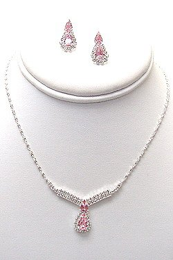 PINK AND CLEAR RHINESTONE SET NKR358