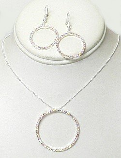 RHINESTONE CIRCLE NECKLACE SET NKR669