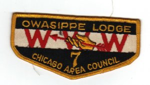 Vintage 1960s Owasippe Lodge 7 Patch WWW Chicago